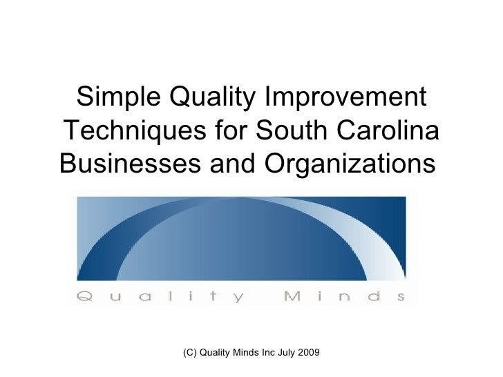 Simple Quality Improvement Techniques for South Carolina Businesses and Organizations              (C) Quality Minds Inc J...