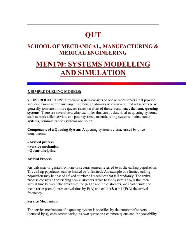 QUTSCHOOL OF MECHANICAL, MANUFACTURING &         MEDICAL ENGINEERING     MEN170: SYSTEMS MODELLING          AND SIMULATION...