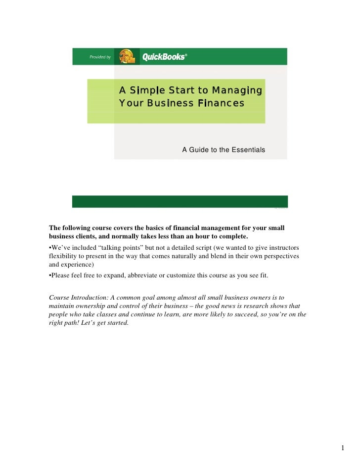 A Simple Start to Managing                          Your Business Finances                                                ...