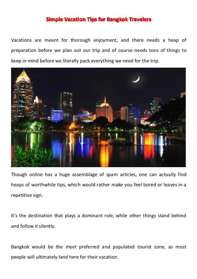 Simple vacation tips for bangkok travelers