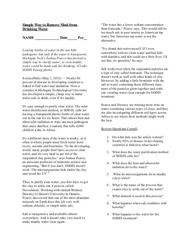 Biology Remove Mud From Water Article 12/06/12