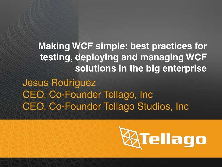 • Service Versioning• Remove Endpoint-Coupling Between  Services and Clients• Managing WCF Configuration• WCF Services Ava...