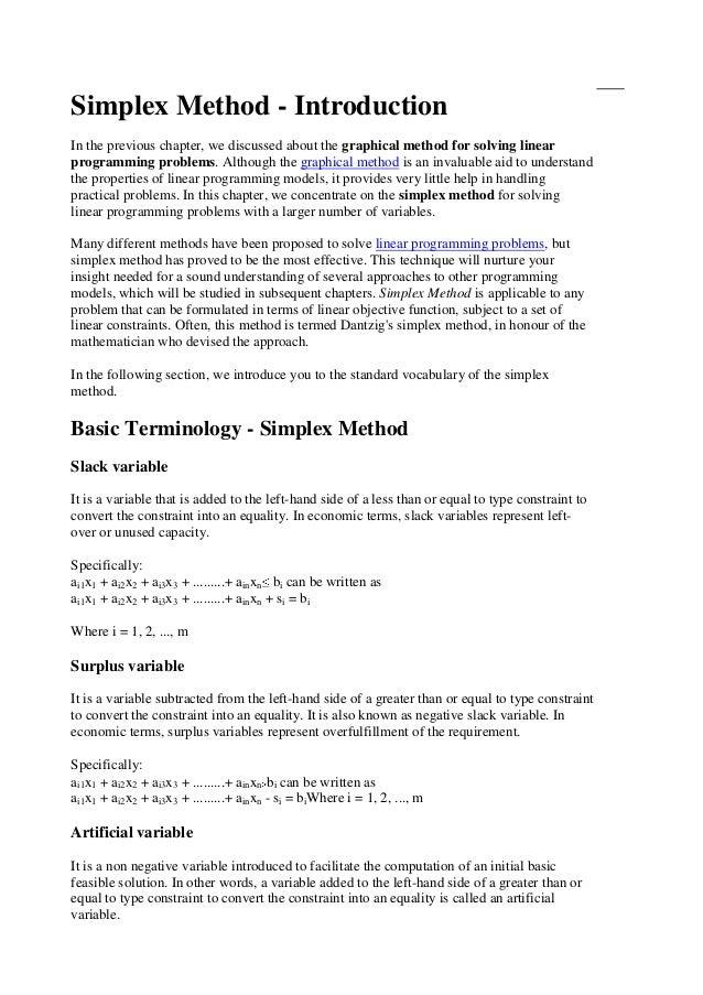 Learn xtra linear programming simplex