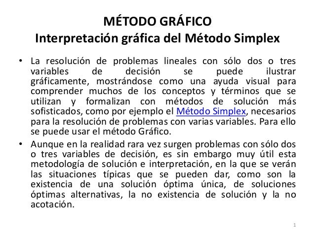 PROGRAMACION LINEAL - METODO SIMPLEX