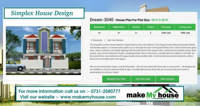 Simplex house design by Make My HouseSimplex House Design g Dream   House Plan For Plot Size   Ft