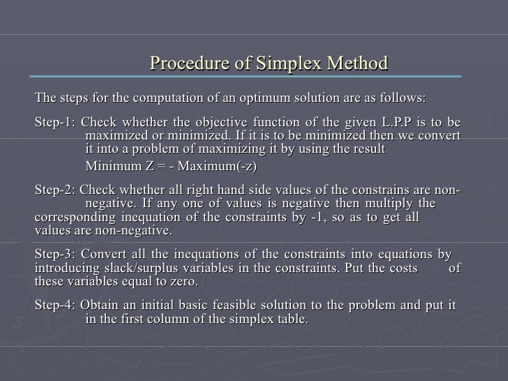 Procedure of Simplex Method The steps for the computation of an optimum solution are as follows: Step-1: Check whether the...