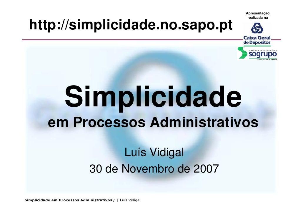 Simplicidade Cgd Dez 2007