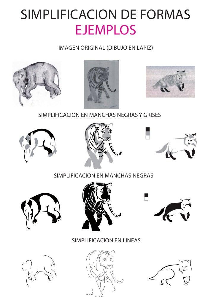 SIMPLIFICACION DE FORMAS         EJEMPLOS        IMAGEN ORIGINAL (DIBUJO EN LAPIZ)  SIMPLIFICACION EN MANCHAS NEGRAS Y GRI...