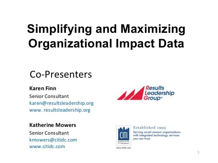 Performance Management for Nonprofits:  Simplifying and Maximizing Organization Impact Data