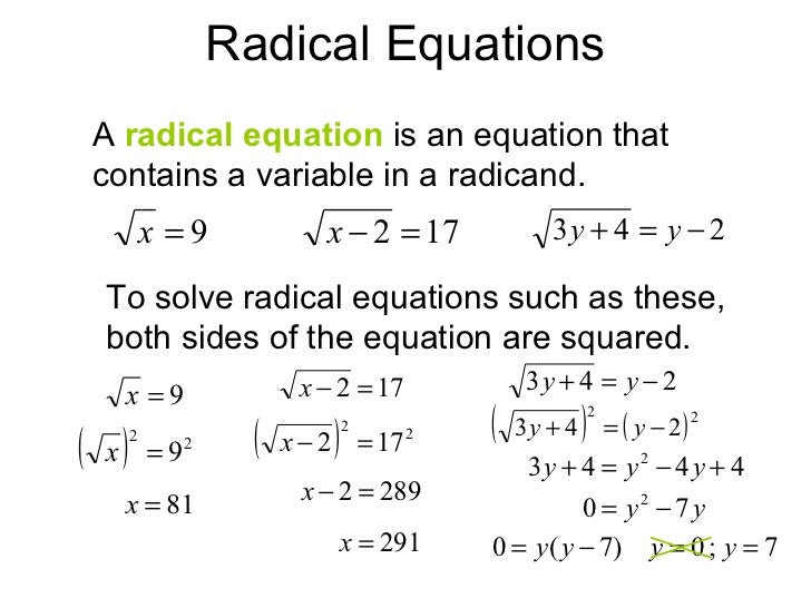 Homework help solving radical equations