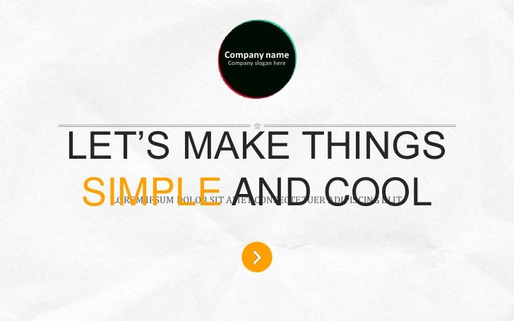 Company name                        Company slogan hereLET'S MAKE THINGS SIMPLE AND COOL  LOREM IPSUM DOLOR SIT AMET CONSE...