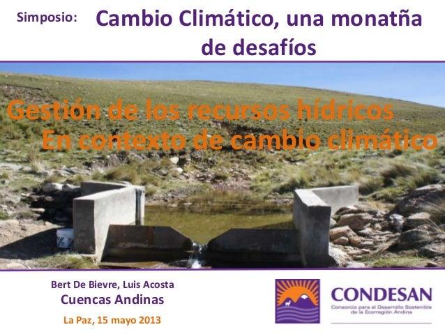Gestión de los recursos hídricos en contexto de cambio climático