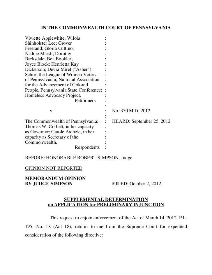 IN THE COMMONWEALTH COURT OF PENNSYLVANIAViviette Applewhite; Wilola                 :Shinholster Lee; Grover             ...