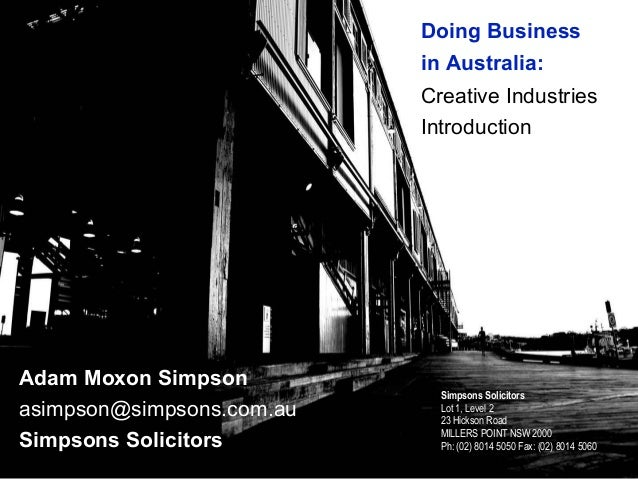 Simpsons Solicitors Webinar Presentation - Creative Industries in Australia