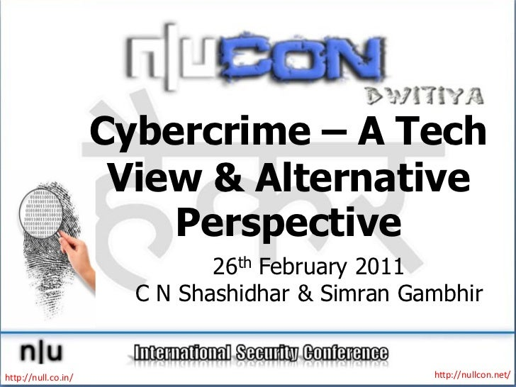 Cybercrime – A Tech                      View & Alternative                         Perspective                           ...