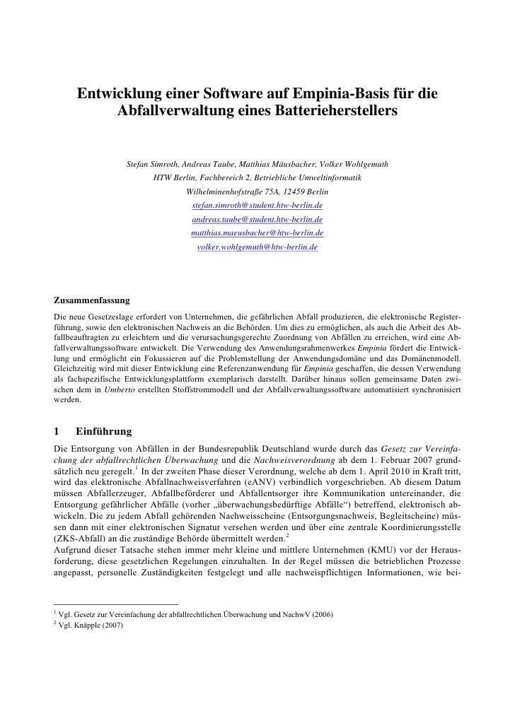 Entwicklung einer Software auf Empinia-Basis für die               Abfallverwaltung eines Batterieherstellers             ...