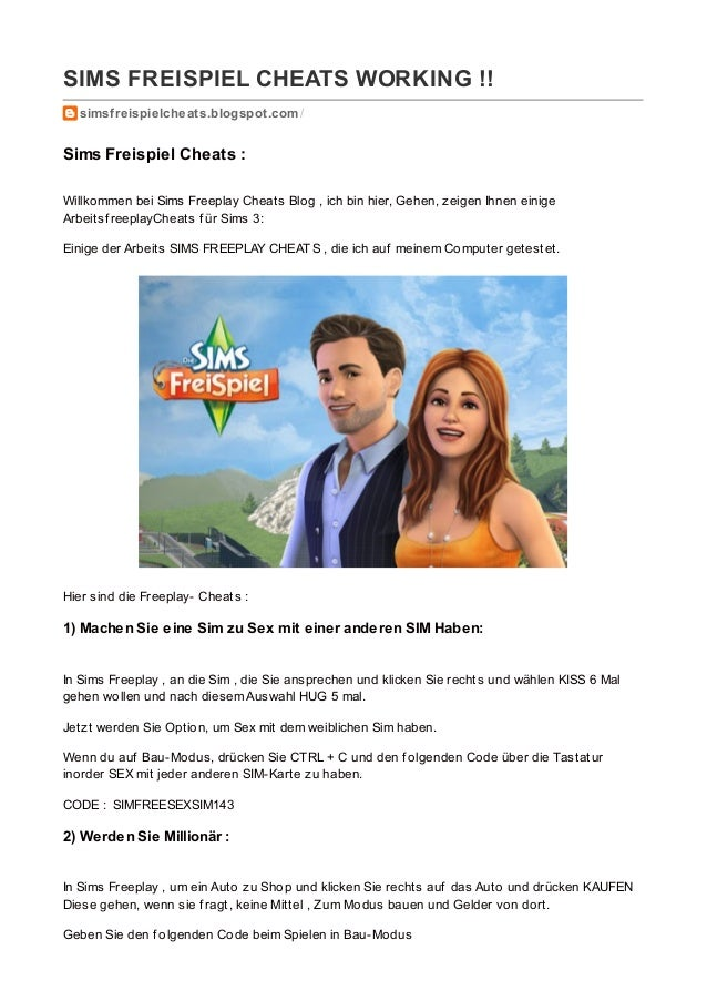 Simsfreispielcheats.blogspot.com Sims Freispiel Cheats WORKING!