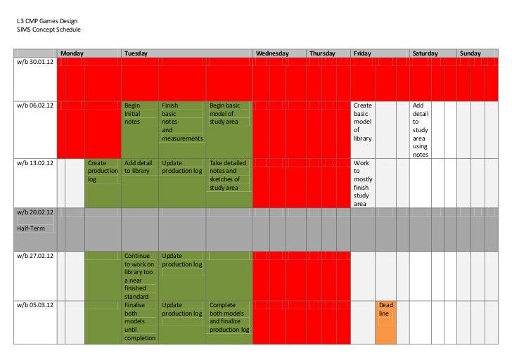 L3 CMP Games DesignSIMS Concept Schedule               Monday              Tuesday                                        ...