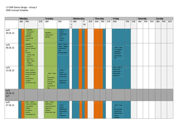 Sims schedule completed