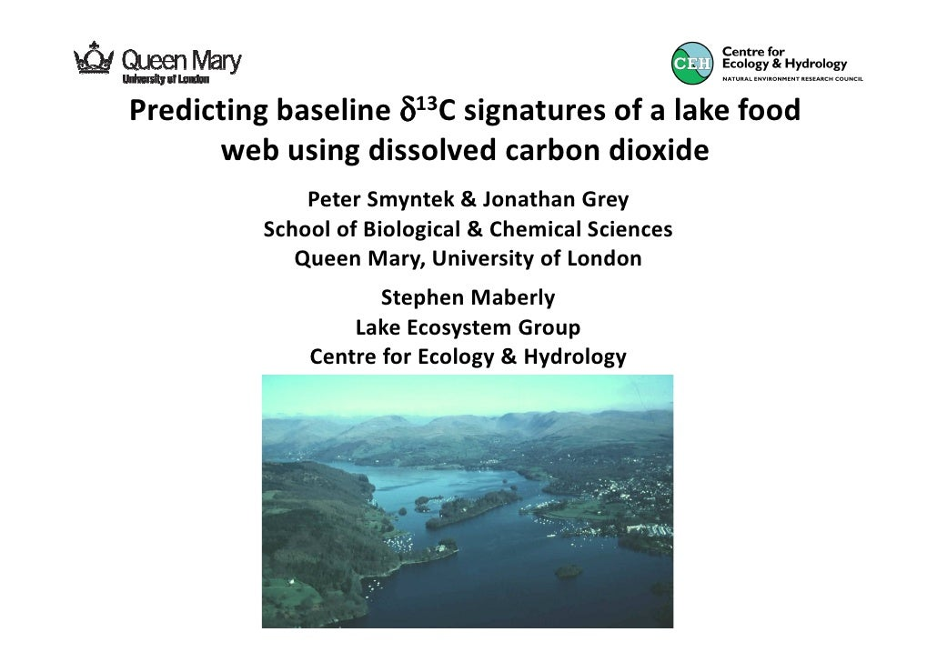 Predicting baseline δ13C signatures of a lake food      web using dissolved carbon dioxide              Peter Smyntek & Jo...