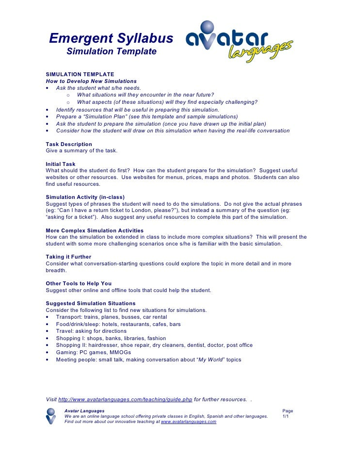 Emergent Syllabus         Simulation Template  SIMULATION TEMPLATE How to Develop New Simulations • Ask the student what s...