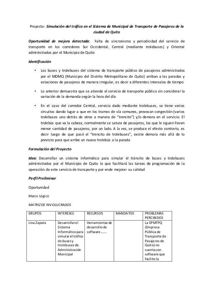 Proyecto: Simulación del tráfico en el Sistema de Municipal de Transporte de Pasajeros de la ciudad de Quito Oportunidad d...