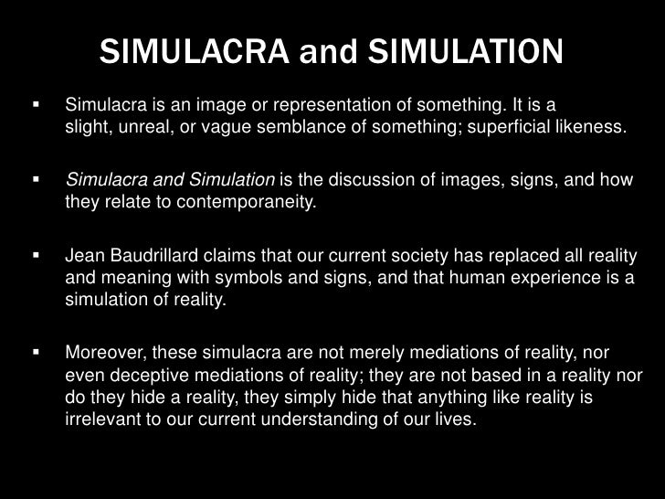 jean baudrillard essay simulacra and simulations Jean baudrillard (/ in the essay the spirit of terrorism new york seems inspired by baudrillard's simulacra and simulation.
