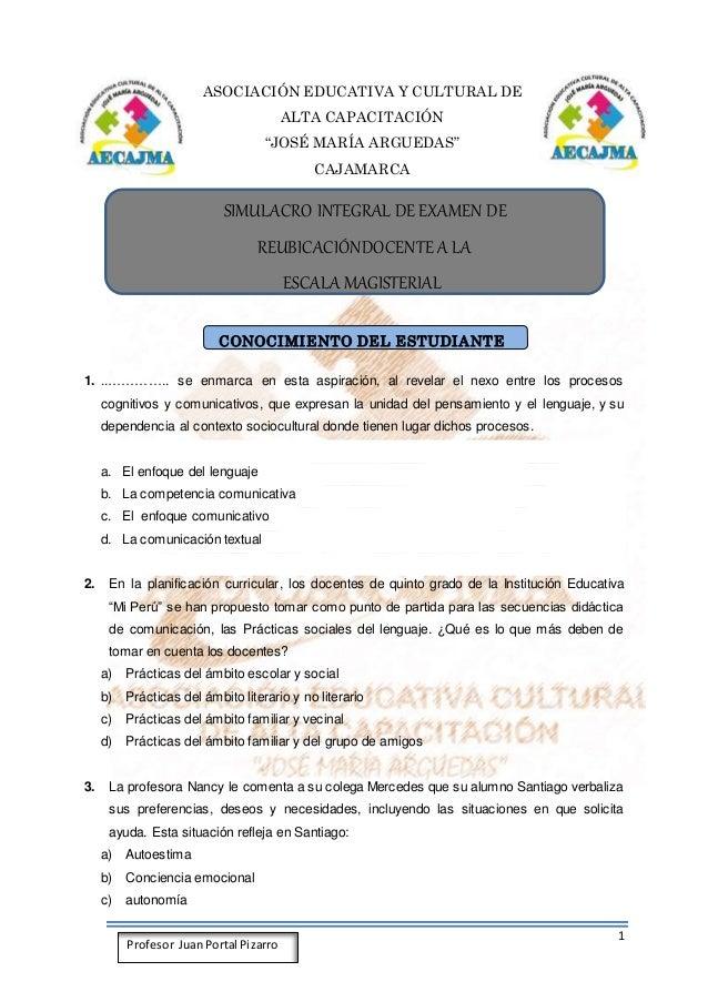 """1 Profesor JuanPortal Pizarro ASOCIACIÓN EDUCATIVA Y CULTURAL DE ALTA CAPACITACIÓN """"JOSÉ MARÍA ARGUEDAS"""" CAJAMARCA SIMULAC..."""