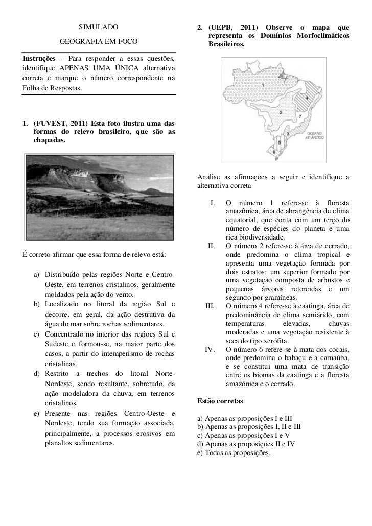 SIMULADO                         2. (UEPB, 2011) Observe o mapa que                                                      r...