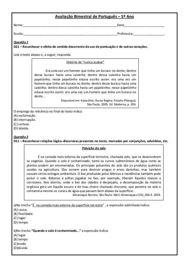 Simulado   Descritores PROEB Portugu  S 5   Ano