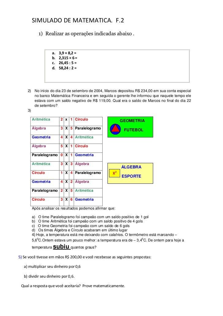 Simulado de matematica f2. 2012