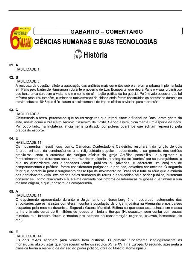 GABARITO – COMENTÁRIO                CIÊNCIAS HUMANAS E SUAS TECNOLOGIAS                                                Hi...