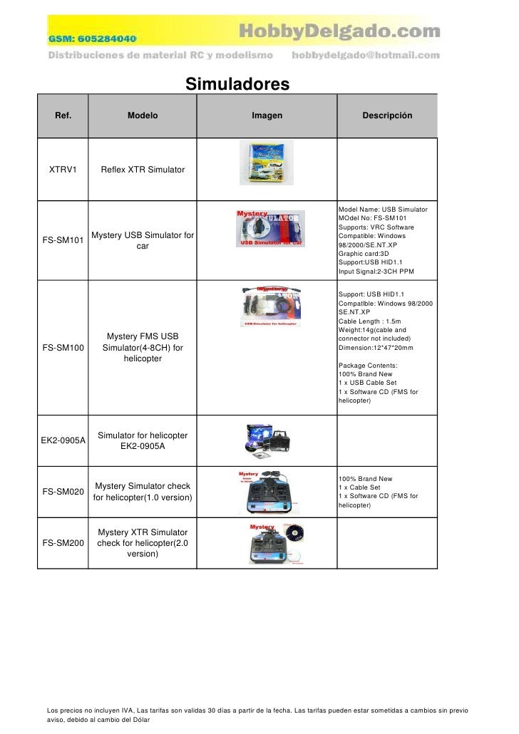 Simuladores    Ref.                    Modelo                                   Imagen                              Descri...