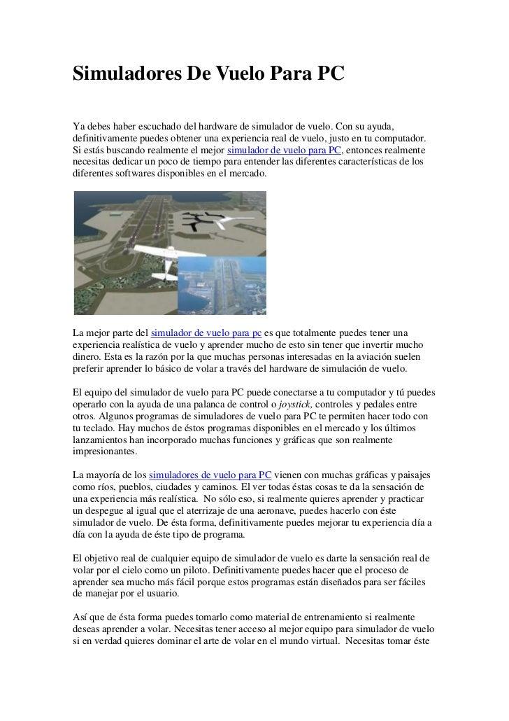 Simuladores de vuelo para pc