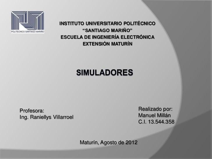 """INSTITUTO UNIVERSITARIO POLITÉCNICO                           """"SANTIAGO MARIÑO""""                   ESCUELA DE INGENIERÍA EL..."""