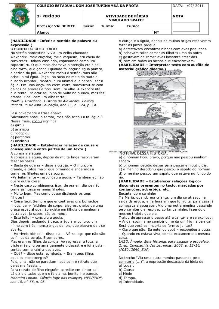 COLÉGIO ESTADUAL DOM JOSÉ TUPINAMBÁ DA FROTA                                      DATA:    /07/ 2011               2º PERÍ...