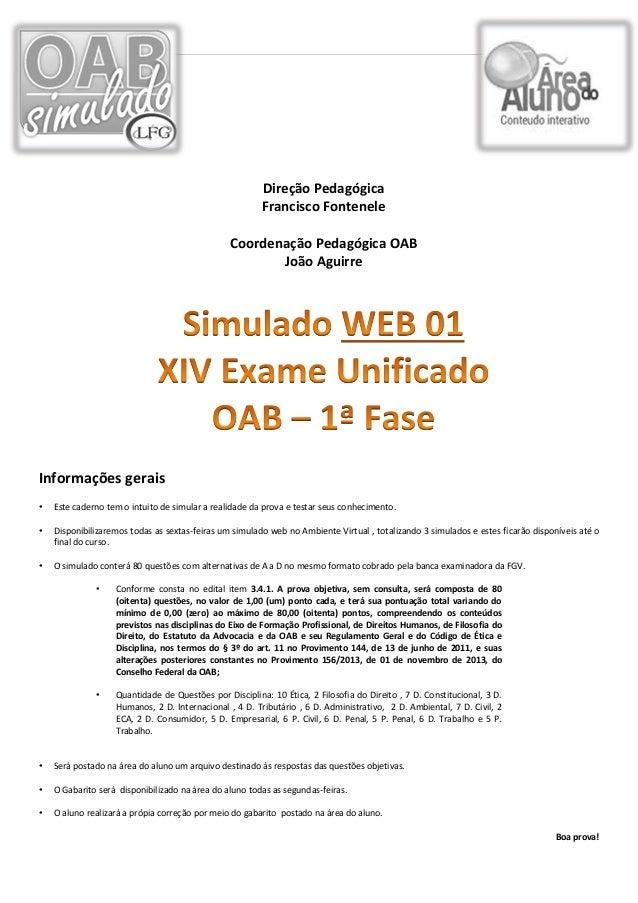 Simulado do 14º Exame de Ordem da OAB da Rede LFG