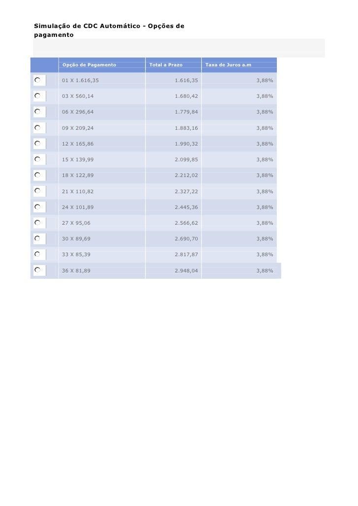 Simulação de CDC Automático - Opções depagamento       Opção de Pagamento    Total a Prazo       Taxa de Juros a.m       0...