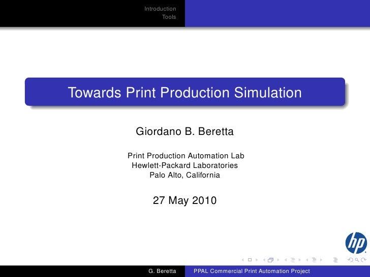 Towards Print Production Simulation