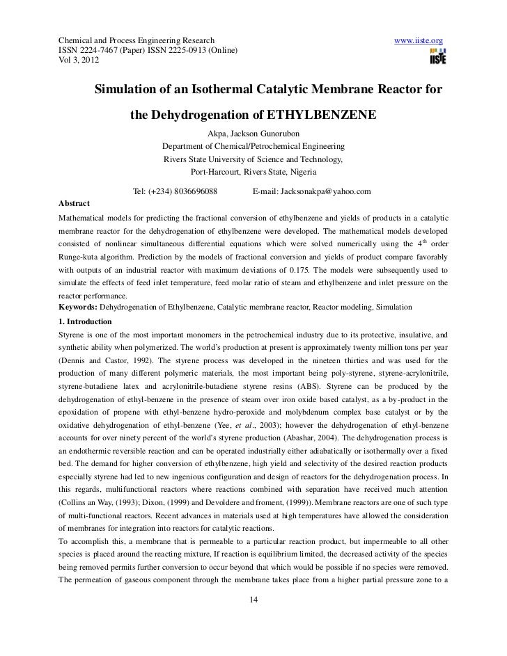 Simulation of an isothermal catalytic membrane reactor for the dehydrogenation of ethylbenzene