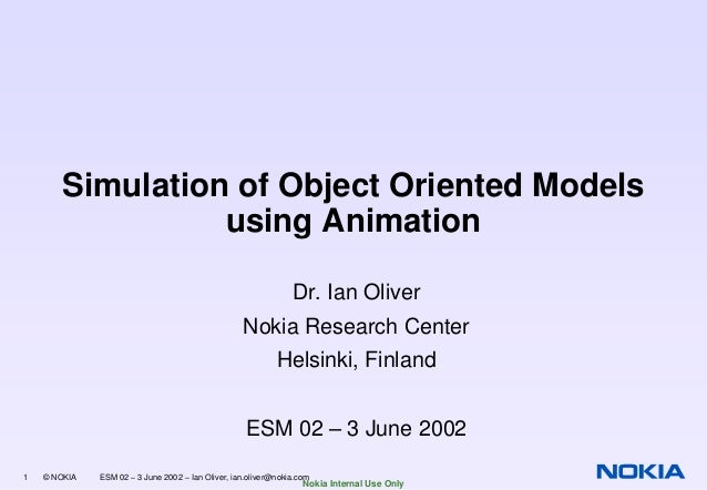 Simulation of Object Oriented Models using Animation