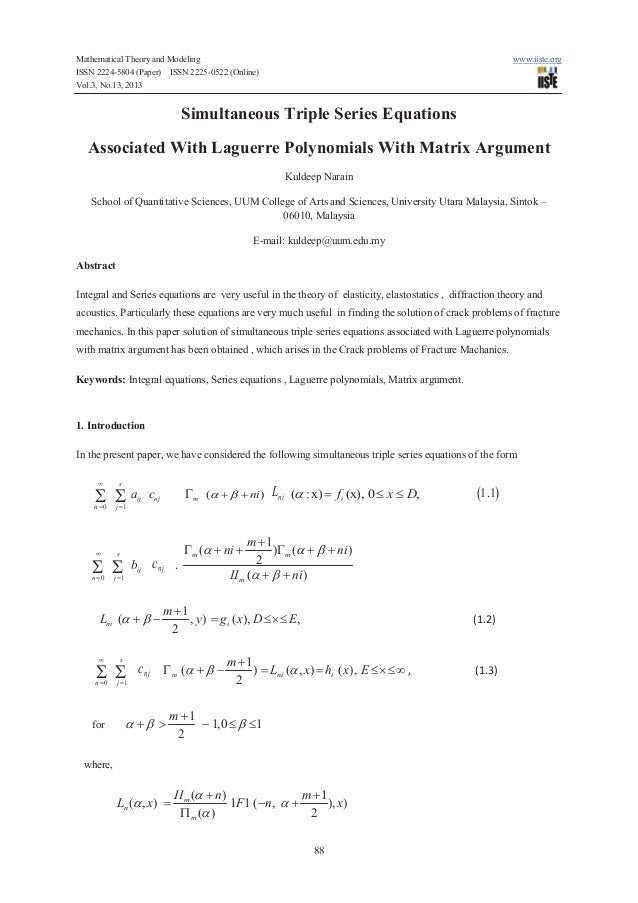 Mathematical Theory and Modeling ISSN 2224-5804 (Paper) ISSN 2225-0522 (Online) Vol.3, No.13, 2013  www.iiste.org  Simulta...