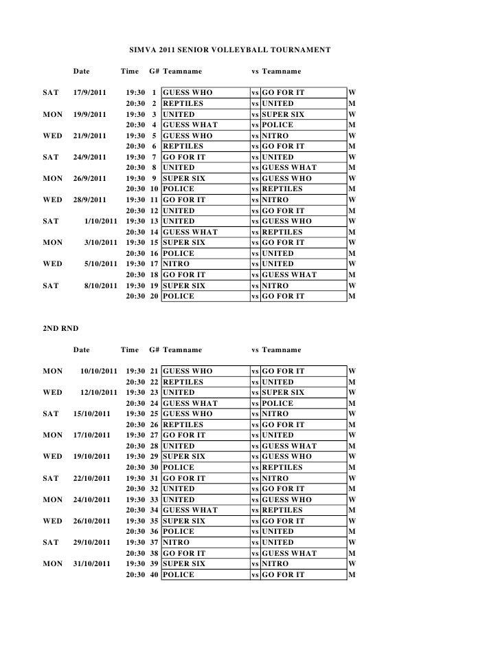 Simva 2011 1st + 2nd round schedule