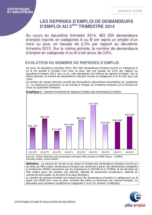 STATISTIQUES, ETUDES ET EVALUATIONS DE POLE EMPLOI LES REPRISES D'EMPLOI DE DEMANDEURS D'EMPLOI AU 2ème TRIMESTRE 2014 Au ...