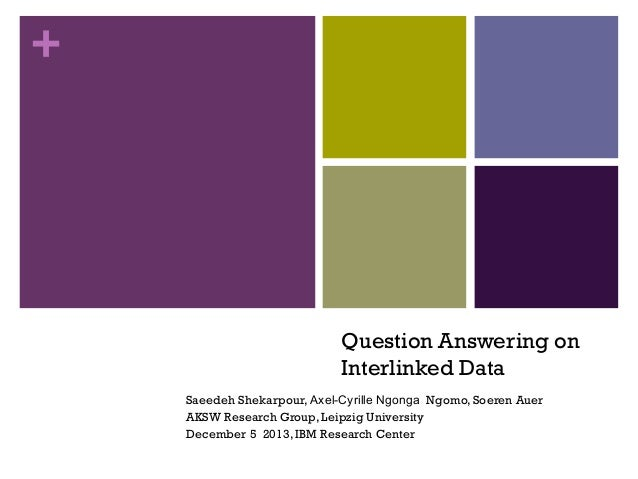 +  Question Answering on Interlinked Data Saeedeh Shekarpour, Axel-Cyrille Ngonga Ngomo, Soeren Auer AKSW Research Group, ...