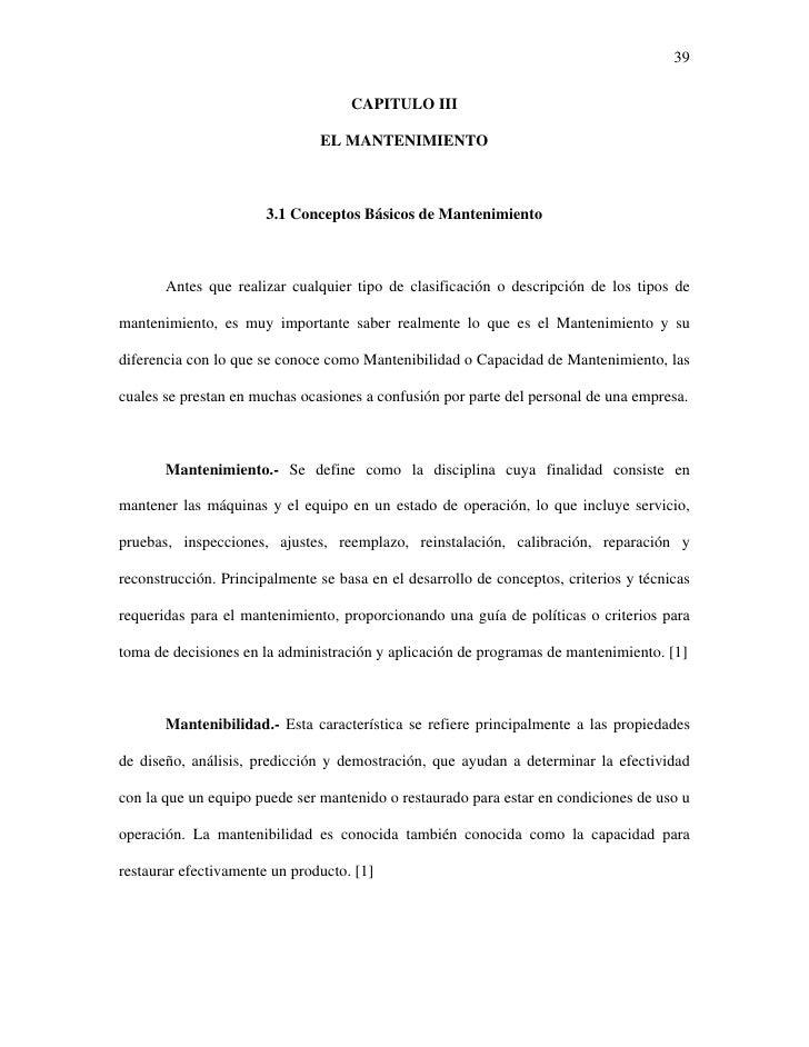 39                                    CAPITULO III                               EL MANTENIMIENTO                       3....