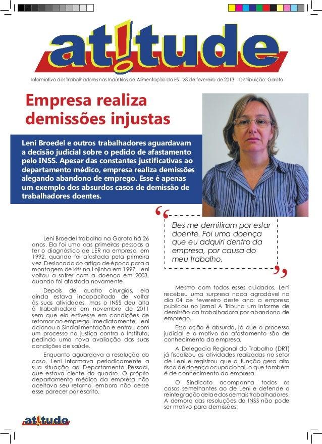 Informativo dos Trabalhadores nas Indústrias de Alimentação do ES - 28 de fevereiro de 2013 - Distribuição: GarotoEmpresa ...