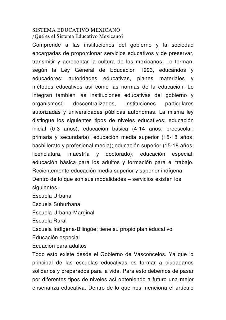 SISTEMA EDUCATIVO MEXICANO <br />¿Qué es el Sistema Educativo Mexicano? <br />Comprende a las instituciones del gobierno y...