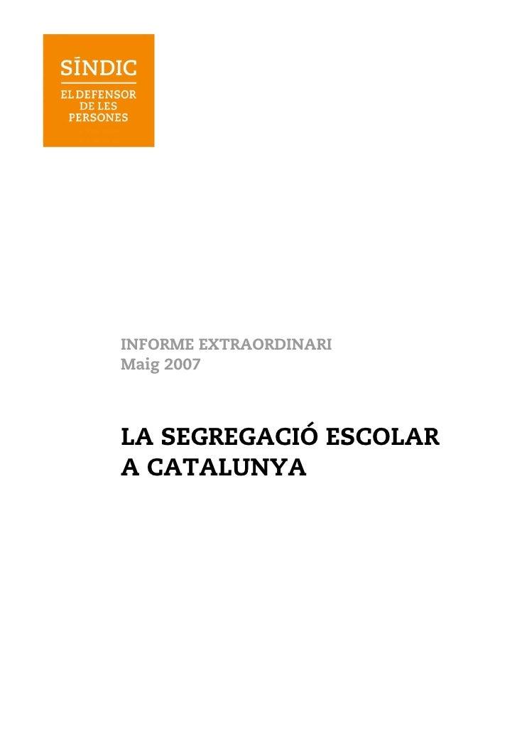Sindic De Greuges La Segregacio Escolar  A Catalunya