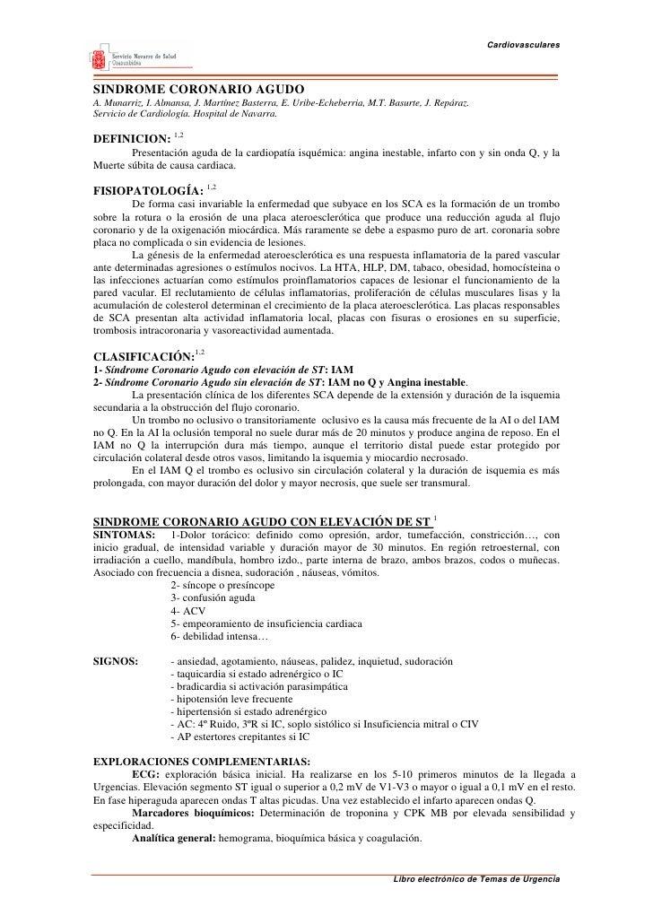 CardiovascularesSINDROME CORONARIO AGUDOA. Munarriz, I. Almansa, J. Martínez Basterra, E. Uribe-Echeberria, M.T. Basurte, ...